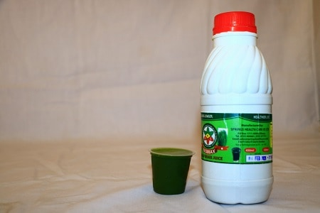This is fresh Springs Healthcare Biomax wheatgrass juice extracted from the young wheatgrass plant.