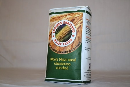 This is the normal maize flour that has been enriched by the addition of Springs Healthcare wheatgrass powder
